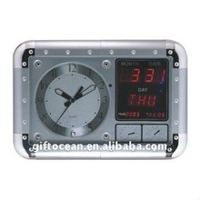 large rectangle wall clock with LED calendar