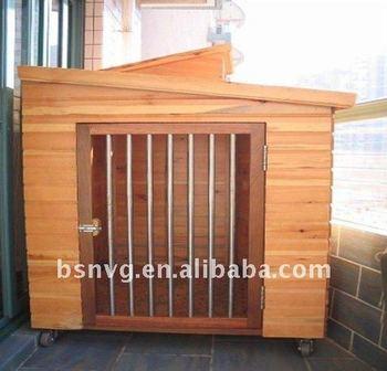 Wooden Classic Dog House With Steel Door