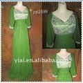 Pp2488 perles en mousseline de soie à manches longues robe de soirée pour les musulmans