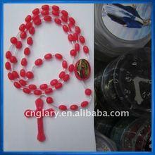 Vintage rosary crucifix string red beads,Rozaniec plastik