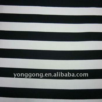 nylon spandex elastic swimwear Black white striped jersey knit fabric