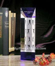 pillar shaped 3D Laser Golf Crystal Trophy