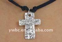 black suede leather metal cross pendant necklace accessories jewellery(A1000548)