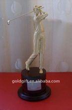 Christmas Metal Golf Gift with Black Wood Base