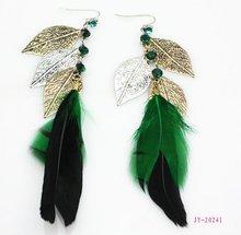 Three Leaf Fashion Feather Earrings