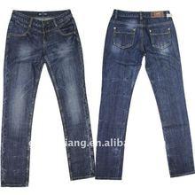 Lady fashion skinny denim jean,tie washing,best quality jeans