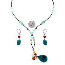 fashion nice cheap handmade plastic turquoise tear drop beaded necklace set