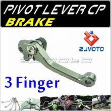 ZJMOTO Dirt bike Motorcycle 3-Finger Pivot brake Lever Adjustable aluminum CNC lever For SUZUKI RM125/250 2004-