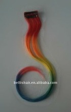long thin rainbow 7 color grizzly rooster feather hair extensions