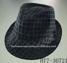 black plaid fedora hat