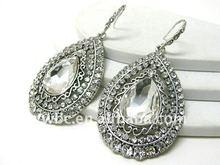 Crystal stud large metal tear earring