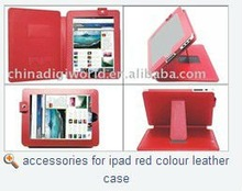 accessories for ipad red colour leather case