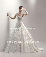 2012 New style full Skirt Tulle Lace Taffeta Appliqued Crystal Beaded Wedding Dresses