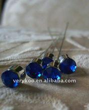 3 inch Sapphire Round Crystal Bouquet Corsage Gem Pins FCK-11809