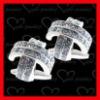 top quality crystal setting custom silver cufflinks