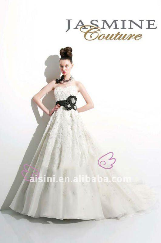 chiffon backless lace sash designer wedding dress