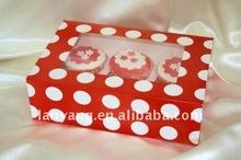 cupcake box_red_polka_dots cb-115 factory direct wholesale
