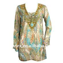 Polyester embroidery with bead kaftan& tunika
