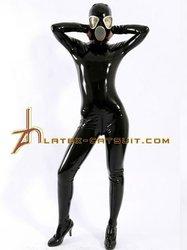 Black latex full body latex fetish catsuit