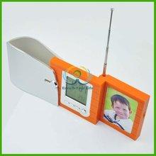 Chrismas Xmas gift Penholder integrate with time calendar temperature FM clock radio and photo frame