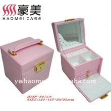 Fancy pink leather jewelry box with lock