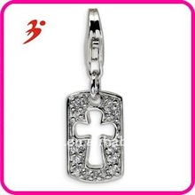 fashion cheap silver plated pave diamond tag cut out cross pendants jewelry