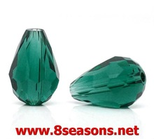 50 Malachite Green Crystal Glass Teardrop Beads 11x8mm