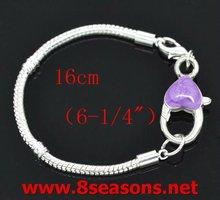 4 Purple Lobster Clasp Bracelet Fit European Beads 16cm