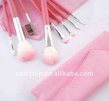 8pcs Makeup Brush Set Pink Leather Pouch