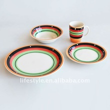 16pcs stoneware dinner set with hand-painting for 4 persons with round shape