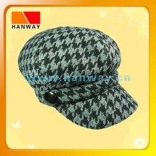 2012 new style children's houndstooth fashion newsboy cap, plastic button trim