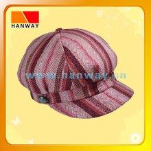 2012 new style girl's winter fashion multi color stripe fabric bakerboy cap, metal button trim