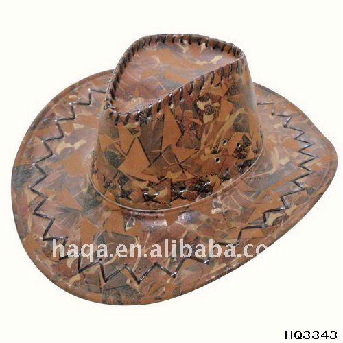 Orange leather cowboy hat