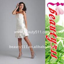 Strapless Short/Mini Knee Length Beading Taffeta White Cocktail Party Dresses 7126QL