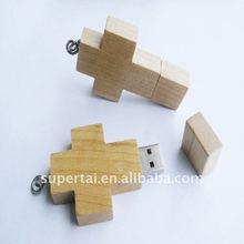 New arrival wooden cross type pen drive 8g