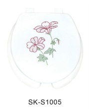"""Embroided Toliet Cover, Elongated Adult Closed Front Soft Toilet / WC Seat,17"""" 18"""" 19"""""""