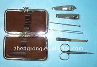 fashion nail care clipper pedicure manicure kit leather case