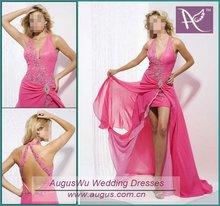 AEM-018 2012 Popular Halter Beaded Hi-Lo Evening Gowns