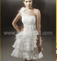 New Style One Shoulder Tiered Organza Short Princess Wedding Dress GR203