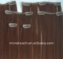 "Top quality 14"" silk straight Malaysian human hair clip in hair extension"