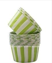 Wholesale Light Green Stripe Muffin Cupcake Case