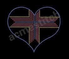 2012 New fashion heart rhinestone design /hot fix rhinestone motif /heat transfer