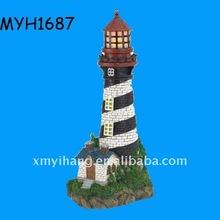2011 new fashion polyresin solar powered lighthouse figurine