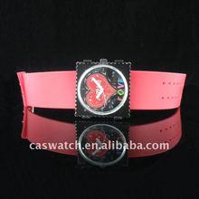 Peach stamp watches PVC strap