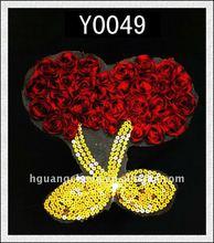 HOT!!! Bright Cherry Chiffon Rose Swirl Sequins