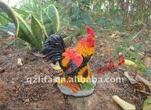 polyresin animal big animal cock/resin crafts for sensor garden decoration
