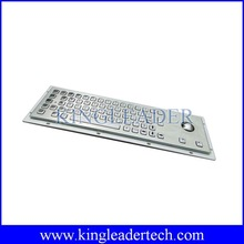 Waterproof vandalproof industrial metal keyboard with trackball