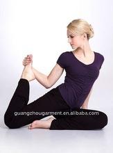 O neck purple short sleeve yoga garment 2012