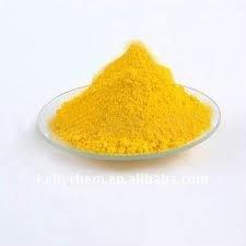 solventes y polvo amarillo de los pigmentos