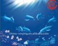 Blu mare e delfino rivestimento murale decorativo/venature del legno in metallo pannello murale
